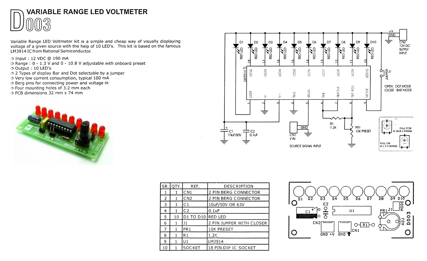 Buy Voltmeter Led Variable Range At The Right Price Electrokit Schematic Datasheet Lm3914 Schematics