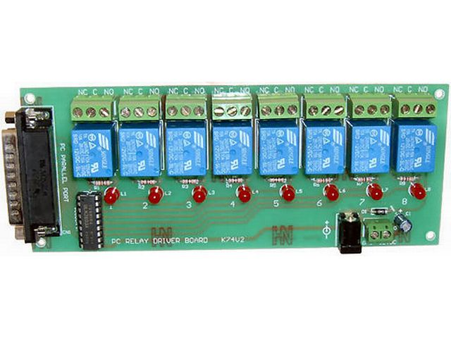 buy relay board x 8 for pc lpt at the right price electrokit rh electrokit com Circuit Board Relay Solder Small Circuit Board Relays