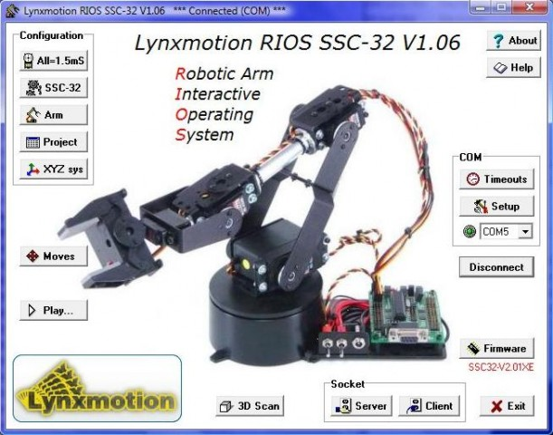 RIOS arm control software - SSC-32 version
